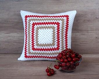 Cool crochet decorative pillow, fancy cushion, european sham, white taupe red geometric throw 16 x 16 (40 x 40 cm) ~ farmhouse boho gift