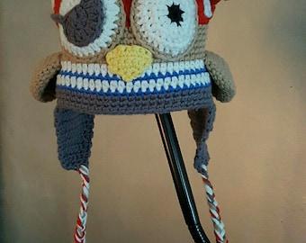 fleece lined pirate OWL Hat