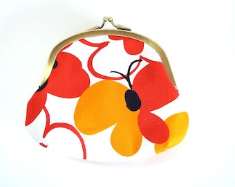 flower and butterfly metal frame purse, kiss lock purse
