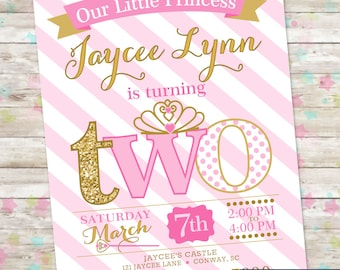 Princess Birthday Invitation, 2nd Birthday Party Invite, Pink and Gold Glitter, TWO Little Princess, Printable Invite, Princess Party, DIY
