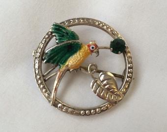 Silver Enamel Parrot Brooch - Original vintage 1940s - tropical - Sterling