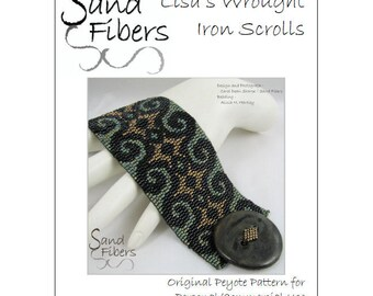 Peyote Pattern - Lisa's Wrought Iron Scrolls Peyote Cuff / Bracelet  - A Sand Fibers For Personal/Commercial Use PDF Pattern