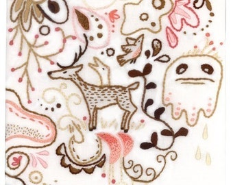 DIY Forest embroidery pattern Woodland animals decor PDF download hand embroidery patterns designs