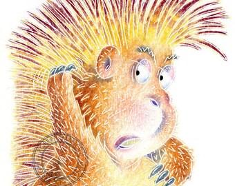 Children illustration - Porcupine - art print of original coloured pencil artwork