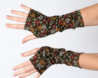 Patterned fingerless gloves, Jersey armwarmers, Khaki arm warmers, Floral wrist warmers, Long fingerless gloves, Gift for women, MALAM
