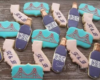 California wedding sugar cookies/golden gate/wine (8 dozen cookies)