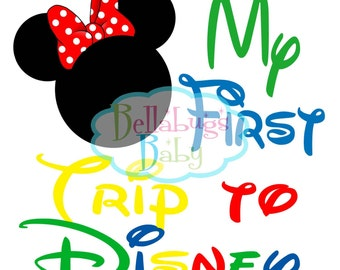 My First Trip to Disney INSTANT DOWNLOAD Digital Iron-On Transfer Design -Minnie Bow - DIY - Do It Yourself - Vacation - Disney
