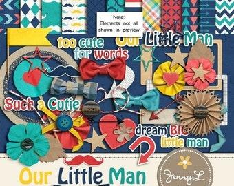 50% OFF Little Man Digital Scrapbooking Kit , Mustache, Arrows, Hearts, Bowtie / Little Boys  - Instant Download PERSONAL USE only