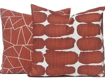 Pillow Covers - Two Sofa Pillow Covers - Rust Pillow - Decorative Pillow Covers - Rust Home Decor - Couch Pillow Cover - Throw Pillow Cover