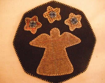 New!! Pre-cut Wool Penny Rug/Candle Mat Kit - Hannah's Angel- Primitive Embroidery