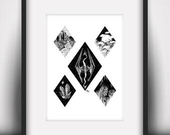 Skyrim Design Collection Art Print (A5 / 5.8 x 8.3 in)