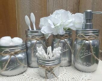 5 Piece Bathroom Mason Jar Set