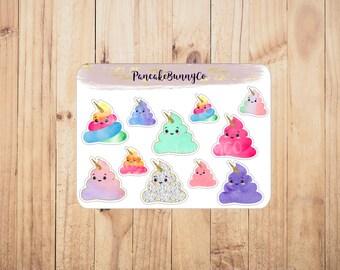 Poop unicorn stickers