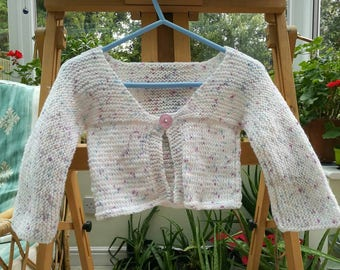 Girls white and spotted cardigan