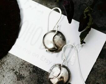 Crescent Moon Earrings. Handmade Sterling Silver Domed Moon Earrings. Moon Child Earrings.