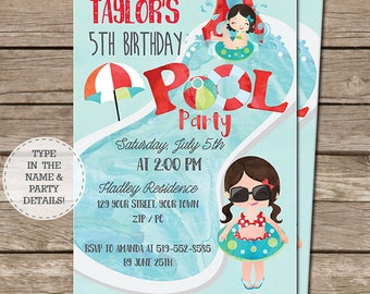 Pool Party Invitation - Pool Birthday Party - End of Year Party Invitation - Instant Download - Personalize at home in Adobe Reader