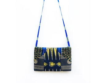 Small Crossbody Bag, Blue Clutch Crossbody, African Bag, One of a Kind Gifts, Unique Bags, African Clutch, Reversible Handbag, Gift Idea