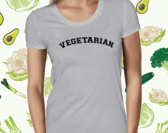 Vegetarian Women's T-shirt - Plant-based Shirt for Women - Statement Vegetarian Tee Shirt - Vegan Tshirt for Women - Vegetarian Love Shirt