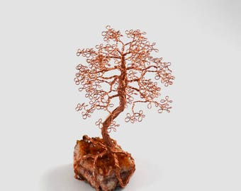 Raw Citrine Cluster Copper Wire Tree of Life Bonsai Handmade Home Decor Reiki Healing Crystals Wire Art Tree Sculpture