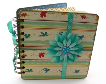 Autumn Flight Lined Journal, 6x6, turquoise - red, aqua, golden yellow