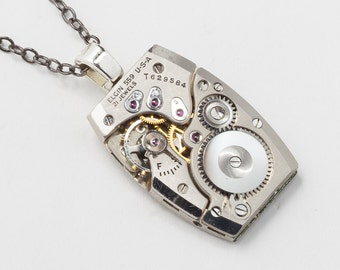 Steampunk Necklace Vintage Elgin watch movement Silver pendant necklace, unisex necklace men jewelry, Statement necklace womens jewelry Gift