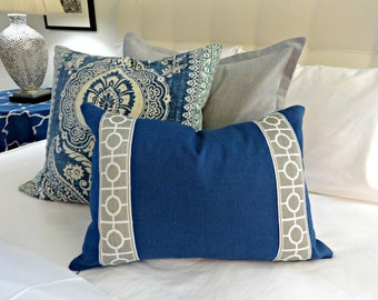 Linen Pillow Cover with Trim/ Designer Pillow Cover/ Pillow Cover with Trim/ Toss Pillow/ Accent Pillow/ Decorative Pillow Cover/ Greek Key