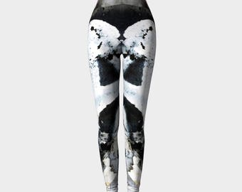 Leggings Black White/Yoga Pants/Womens/Teens/Ladies/Yoga/Fashion/Exercise/Abstract Art/Clothing/Clothes/XS S M L XL/Toronto inspired