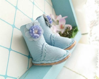 RESERVED - Blythe Azone PureNeemo M S XS Pullip Dal Doll Mini Light Blue Flower Leather Boots Hand Made By MizuSGarden