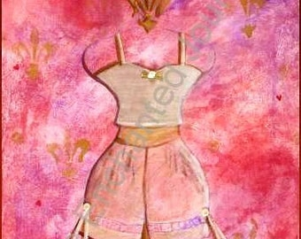 Dressform Pink, lace, bloomers, bride, feminine, fleur de lis, S&H INCLUDED