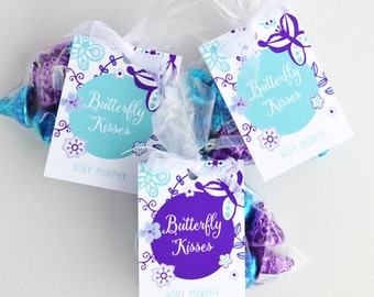 Butterfly Favor Tags, Butterfly Favor Labels - Purple and Teal - Personalized, Printable