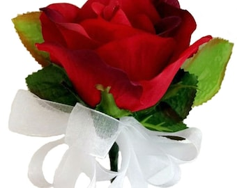 Red Open Silk Rose Corsage - Wedding Corsage Prom