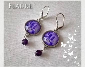 "Silver cabochon earrings ""Lavender"""
