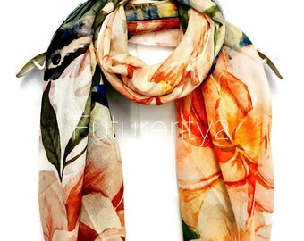 Watercolour Robin Orange Flowers Scarf/Spring Summer Autumn Scarf/Gifts For Her/Scarves And Wraps/Handmade Accessories/Gifts For Mother