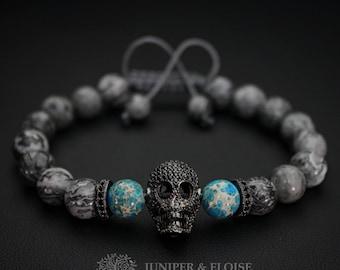 Skull Bracelet, Mens Bracelet, Zircon Skull Bracelet Gift, Skull Charm, Cool Skull Bracelet