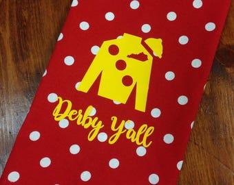Red polka dot hand towel with yellow Jockey Silk, Kentucky Derby hand towel, Derby decor