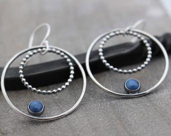 Denim Blue Lapis Hoop Earrings - Sterling Silver Dangle Hoop Earrings - Lapis Jewelry - Jewelry Sale