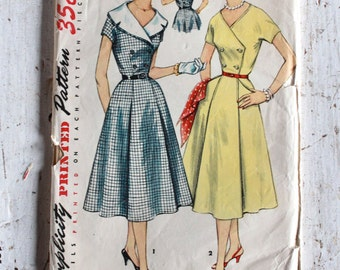 """1950s Sewing Pattern / Simplicity 1097 /  1950s Dress with Detachable Collar / Cocktail or Day Dress / Bust 37"""" Waist 32"""""""