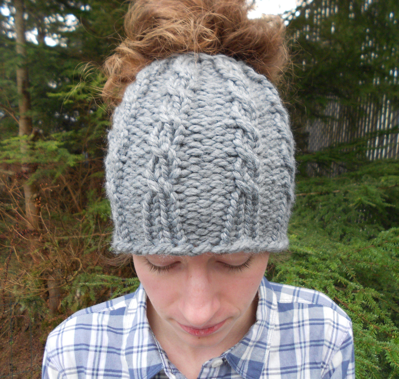 9a4a2745e93b8 Cable Knit Messy Bun Hat Bun Beanie Bun Hole Hat Winter Hat