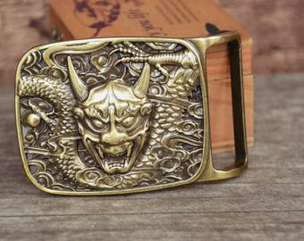 Mens Belt Buckle Solid Brass Belt Buckle Dragon Monster
