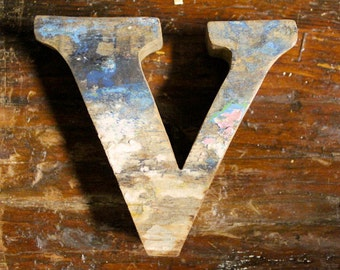 Wooden letter V Beach Decor Vintage Style Nautical by SEASTYLE