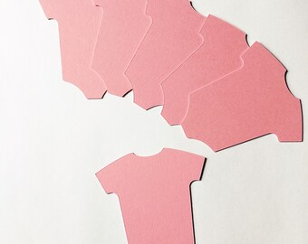 Baby grow, onesie die cut set of 6, in pink. Card making, embellishments, scrapbooking, smash book or gift tags.