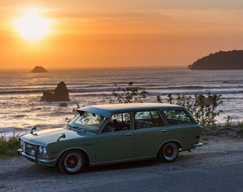1971 Datsun 510 SSS Bluebird, Landscape Photography, Metal Print, Large Prints, Humboldt County CA, Classic Cars, Sunsets, DJerniganPhoto