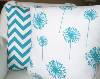Turquoise Pillow Covers, Decorative Throw Pillow, Cushions, True Turquoise Aqua White Chevron Dandelion Zig Zag, Set of Two Various Sizes