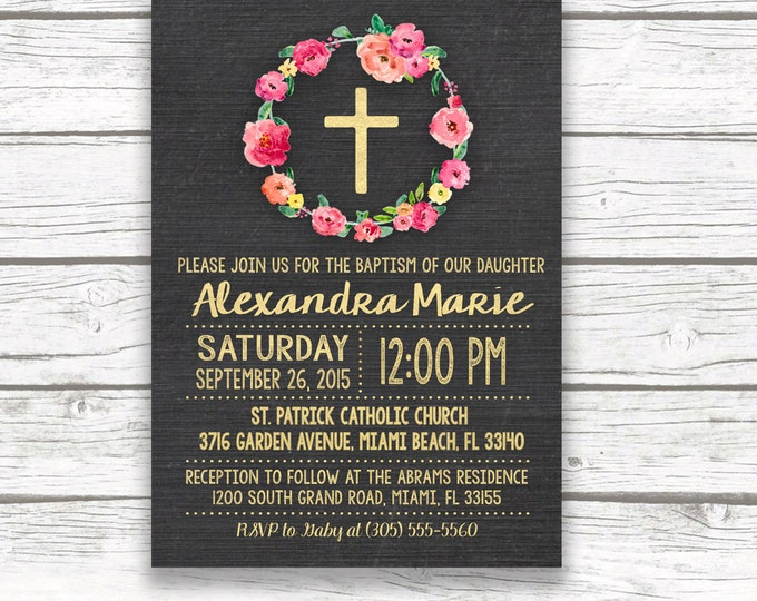 Chalkboard Gold Foil Baptism Christening Invitation, Girl First Communion Pink Floral Wreath Cross Invite, Printed Printable Invitation