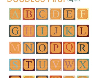 Retro Alphabet Blocks Clip Art for Scrapbooking Card Making Cupcake Toppers Paper Crafts