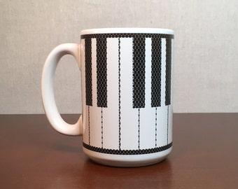 Piano Mug, Pop-Art Piano Keys Mug, Piano Player's Mug, Pianist's Mug, Piano Teacher's Mug