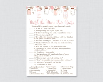 Movie Love Quote Match Game - Printable Mason Jar Bridal Shower Movie Quote Game - Rustic Pink Mason Jar Bridal Shower Game - 0015-P