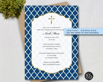 Navy and Gold Cross Religious Invitation, Editable Invitation Template, Instant Download, Confirmation, Communion, Baptism, Item 3639