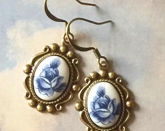 Rose Earrings - Blue Flower Earrings - Drop Earrings - Rose Jewelry - Vintage Style - Romantic Jewelry - Gift for Her - Delicate Jewelry