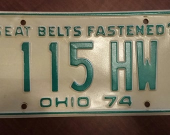 Vintage 1974 Ohio License Plate, 1974 license plate, vintage Ohio license plate, old Ohio license plate, antique Ohio license plate